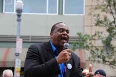Democratic state Rep. Edward Gainey, 24th District at the ​rally along North Shore Drive in front of the offices of the Pittsburgh Post-Gazette, Friday​,​ June 7, 2019, to support the Newspaper Guild of Pittsburgh and other PG Unions.​ (Kurt Weber)​