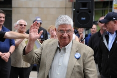 Democratic state Rep. Wayne Fontana 42nd District at the ​rally along North Shore Drive in front of the offices of the Pittsburgh Post-Gazette, Friday​,​ June 7, 2019, to support the Newspaper Guild of Pittsburgh and other PG Unions.​ (Kurt Weber)​