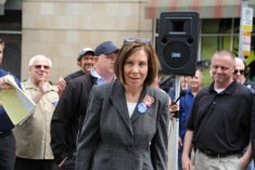 Pennsylvania Democratic state senator Pam Iovino, 37th district at the ​rally along North Shore Drive in front of the offices of the Pittsburgh Post-Gazette, Friday​,​ June 7, 2019, to support the Newspaper Guild of Pittsburgh and other PG Unions.​ (Kurt Weber)​