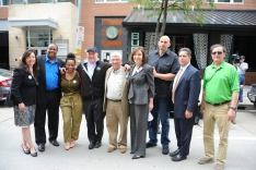 Various state reps and senators, County Controller Chelsa Wagner, Rep. Ed Gainey, Rep. Summer Lee, Rep Dan Miller, Sen. Wayne Fontana, Sen. Pam Iovino, Lt. Gov. John Fetterman, Sen. Jay Costa and Rep. Bill Kortz attended the rally along North Shore Drive in front of the offices of the Pittsburgh Post-Gazette, Friday, June 7, 2019, to support the Newspaper Guild of Pittsburgh and other PG Unions. (Kurt Weber)